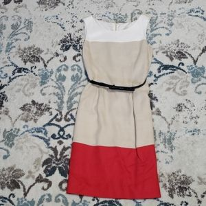 Kate spade Beige Red ColorBlock Pleated Stripe